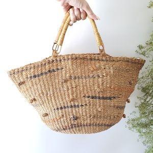 Handbags - Large straw woven handmade tote bag purse